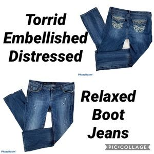 torrid Jeans - 🌻SOLD🍁 Torrid Distressed Relaxed Boot Jeans 16